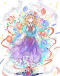 1girl blonde_hair blue_shirt blue_skirt bow bug butterfly cherry_blossoms commentary_request floral_print flower hat highres insect long_hair maribel_hearn mob_cap print_skirt red_bow red_footwear rose shirt short_sleeves skirt solo touhou uwazumi violet_eyes white_headwear