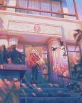 1girl bird blonde_hair blurry building dappled_sunlight eagle edelgard_von_hresvelg fire_emblem fire_emblem:_three_houses hand_in_pocket highres klegsart long_hair looking_to_the_side open_mouth outdoors railing solo stairs sunlight violet_eyes wind