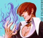 1boy blue_background choker fire hair_over_one_eye juu_satoshi male_focus purple_fire red_eyes redhead simple_background solo the_king_of_fighters yagami_iori