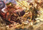 4boys armor battle brown_eyes brown_hair cape cravat day dragon fingerless_gloves fire_emblem fire_emblem:_genealogy_of_the_holy_war gem gloves glowing glowing_weapon green_hair helmet holding holding_weapon horse horseback_riding long_hair multiple_boys official_art outdoors polearm quan_(fire_emblem) red_armor red_eyes red_gloves riding spear travant_(fire_emblem) trident very_long_hair watermark weapon white_cape white_gloves wyvern yellow_eyes