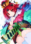1girl :< bangs benienma_(fate/grand_order) bird_hat black_bow blunt_bangs bow fate/grand_order fate_(series) feather_trim feathers foreshortening gauntlets green_bow hair_bow hat highres katana lens_flare miyakawa106 obi red_eyes redhead sash sheath simple_background solo sword thigh-highs tsurime unsheathing weapon white_background white_legwear