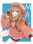 1girl backpack bag bangs bike_shorts black_gloves blunt_bangs brown_eyes brown_hair character_name commentary_request eyebrows_visible_through_hair fingerless_gloves gloves guilty_gear guilty_gear_2020 hat hood hood_down kazesakura_(ranpakun) may_(guilty_gear) medium_hair orange_headwear orange_hoodie pirate_hat skull_and_crossbones solo