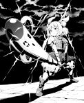 1girl armor boots clouds cloudy_sky commentary_request double_bun foreshortening greyscale hair_ribbon haniwa_(statue) highres holding joutouguu_mayumi lightning monochrome parody puffy_short_sleeves puffy_sleeves ribbon shadow short_hair short_sleeves sky solo sunrise_stance tanasuke touhou two-handed vambraces