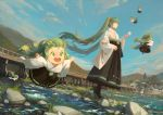 6+girls :d black_hakama blue_sky bridge chibi clouds cloudy_sky commentary_request day dutch_angle floating_hair flying green_eyes green_hair hakama hatsune_miku high_heels highres japanese_clothes kyoto long_hair long_sleeves minigirl multiple_girls multiple_persona open_mouth outdoors outstretched_arms parted_lips sky smile spread_arms standing twintails very_long_hair vocaloid water wide_sleeves xiaobanbei_milk