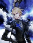 1boy arm_at_side armor artist_name black_armor blonde_hair blue_cape blue_eyes cape danhu dimitri_alexandre_bladud eyepatch fire_emblem fire_emblem:_three_houses fur_trim gauntlets gloves hair_between_eyes hand_on_hip highres looking_at_viewer male_focus polearm simple_background smile solo standing upper_body weapon