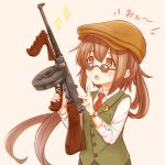 1girl bangs blush brown_background brown_eyes brown_hair brown_headwear buttons crescent crescent_moon_pin crossdressing fumizuki_(kantai_collection) glasses gun hat highres holding holding_gun holding_weapon kantai_collection long_hair long_sleeves necktie open_mouth ponytail red_neckwear reverse_trap shirt simple_background solo sparkle submachine_gun suzushiro_(gripen39) tomboy vest watch watch weapon weapon_request white_shirt