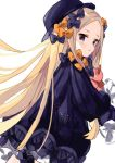 1girl abigail_williams_(fate/grand_order) bangs black_bow black_dress black_headwear blonde_hair bloomers blue_eyes bow bug butterfly commentary_request dress fate/grand_order fate_(series) forehead hair_bow hat insect long_hair long_sleeves namiharuru object_hug orange_bow parted_bangs polka_dot polka_dot_bow simple_background sleeves_past_fingers sleeves_past_wrists solo stuffed_animal stuffed_toy teddy_bear underwear very_long_hair white_background white_bloomers