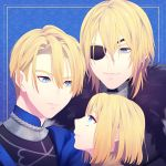 1boy age_progression armor blonde_hair blue_background blue_eyes dimitri_alexandre_bladud eyepatch fire_emblem fire_emblem:_three_houses fur_trim garreg_mach_monastery_uniform highres long_hair solo teeth upper_body ybaoi