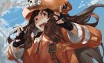 1girl anchor_symbol belt black_gloves blazpu brown_eyes brown_hair clouds cloudy_sky english_commentary fingerless_gloves gloves guilty_gear guilty_gear_2020 hat highres long_hair long_sleeves looking_at_viewer may_(guilty_gear) open_mouth orange_headwear orange_hoodie pirate_hat skull_and_crossbones sky solo