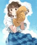 1girl absurdres bangs blue_skirt blush brown_eyes brown_hair brown_headwear commentary_request day hair_blowing hat highres holding holding_hat kana_(okitasougo222) long_hair medium_skirt original outdoors plaid plaid_skirt shirt short_sleeves skirt smile solo summer sun_hat white_shirt
