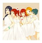 5girls :d ;d ^_^ ahoge alternate_hairstyle azuma_(no488888) bangs blue_hair blush braid brown_background closed_eyes double_bun dress from_side green_scrunchie hair_over_shoulder hair_ribbon holding_hands hug hug_from_behind kurosawa_ruby long_dress long_hair looking_at_another love_live! love_live!_sunshine!! matsuura_kanan multiple_girls one_eye_closed open_mouth orange_hair pink_scrunchie polka_dot polka_dot_scrunchie ponytail red_eyes redhead ribbon sakurauchi_riko scrunchie short_dress short_hair sidelocks single_braid smile sundress takami_chika tsushima_yoshiko twintails violet_eyes white_dress white_ribbon wrist_scrunchie yellow_eyes yellow_scrunchie