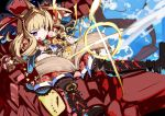 :q black_footwear blonde_hair blue_background book boots bracer cagliostro_(granblue_fantasy) commentary_request diffraction_spikes dragon granblue_fantasy jewelry long_hair magic miyakawa106 ouroboros_(granblue_fantasy) red_skirt shirt skirt star tiara tongue tongue_out violet_eyes