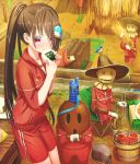 1girl abo_(kawatasyunnnosukesabu) autumn bird_hair_ornament black_hair bottle chair chopsticks commentary_request crate day eating folding_chair food food_on_face gym_shorts gyroid hair_ornament hair_over_one_eye haniwa_(statue) harvest hat hibachi_(object) highres holding holding_food jacket long_hair looking_at_viewer machine onigiri original original_character outdoors ponytail red_eyes red_jacket red_shorts scarecrow shorts sitting standing track_jacket water_bottle weather_vane wheat wheat_field