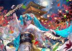 1girl absurdres animal_print aqua_hair architecture arm_up autumn_leaves bangs bird bird_print blue_eyes blunt_bangs cloud_print clouds cloudy_sky commentary crane_(animal) dancing east_asian_architecture egasumi fan floral_print flower full_moon gold_trim hair_flower hair_ornament hatsune_miku highres holding holding_fan japanese_clothes kanzashi kimono leaf lipstick long_hair looking_to_the_side maeko_(pixiv17012595) makeup maple_leaf moon night night_sky obi outdoors outstretched_arms sash sky solo tassel temple tree twintails upper_body very_long_hair vocaloid white_kimono wide_sleeves wing_print
