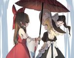 2girls apron bangs bare_shoulders black_dress black_eyes black_headwear blonde_hair blush bow braid brown_hair commentary_request cowboy_shot detached_sleeves dress frilled_apron frills from_side hair_bow hair_tubes hakurei_reimu hat hat_bow holding holding_umbrella kirisame_marisa long_hair long_sleeves looking_at_another multiple_girls oriental_umbrella piyokichi profile puffy_short_sleeves puffy_sleeves rain red_bow red_skirt red_umbrella ribbon-trimmed_sleeves ribbon_trim sarashi short_sleeves sidelocks simple_background single_braid skirt skirt_set standing touhou umbrella waist_apron white_apron white_background white_bow wide_sleeves witch_hat wrist_cuffs