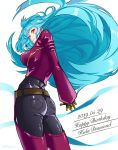 1girl ass belt big_hair blue_hair chaps character_name from_behind gloves happy_birthday hime_cut juu_satoshi kula_diamond long_hair looking_back red_eyes solo the_king_of_fighters