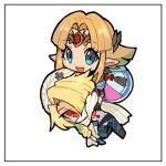 2girls androgynous bandages blonde_hair blue_eyes blush braid chibi crumbs dark_skin dress gloves hat hug jewelry long_hair looking_at_viewer mask multiple_girls nyagiratwist open_mouth pointy_ears princess_zelda red_eyes reverse_trap sheik simple_background smile super_smash_bros. surcoat the_legend_of_zelda the_legend_of_zelda:_a_link_between_worlds the_legend_of_zelda:_a_link_to_the_past the_legend_of_zelda:_breath_of_the_wild the_legend_of_zelda:_ocarina_of_time turban