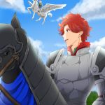 1boy 1girl ajapa0621 armor blonde_hair boots clouds feathered_wings fire_emblem fire_emblem:_three_houses fur_trim horse horseback_riding ingrid_brandol_galatea open_mouth pegasus pegasus_knight red_eyes redhead riding sky sylvain_jose_gautier teeth wings