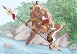 1girl absurdres animal_ear_request animal_ears b7669726 bare_shoulders bikini blonde_hair breasts commentary_request dark_skin highres holding holding_spear holding_weapon large_breasts long_hair long_tail original outdoors polearm sitting smile solo spear swimsuit tail water weapon white_bikini yellow_eyes