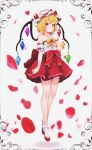 1girl absurdres bare_shoulders blonde_hair bow collarbone commentary_request dress eyebrows_visible_through_hair flandre_scarlet flower full_body gloves hair_between_eyes hat highres orange_bow red_dress red_eyes red_flower red_footwear ribbon short_hair smile solo the_embodiment_of_scarlet_devil touhou white_gloves white_legwear wings yeong