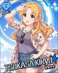 blonde_hair blush character_name dress idolmaster idolmaster_cinderella_girls kiryuu_tsukasa_(idolmaster) long_hair smile stars violet_eyes