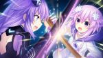 2girls battle blue_eyes braid brave_neptune breasts clash d-pad d-pad_hair_ornament duel game_cg hair_ornament highres long_hair looking_at_viewer multiple_girls neptune_(neptune_series) neptune_(series) official_art open_mouth purple_hair purple_heart short_hair sword symbol-shaped_pupils tsunako twin_braids very_long_hair violet_eyes weapon wooden_sword