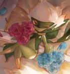 1girl ;o bangs bed blanket blue_flower blue_rose brown_eyes commentary_request crossed_legs flower from_above full_body gen_4_pokemon highres looking_at_viewer lying navel no_humans on_back one_eye_closed parted_bangs petals pillow pink_flower pink_rose pokemon pokemon_(creature) pokemon_(game) pokemon_dppt rose rose_petals roserade ryuuji_teitoku solo tears white_hair