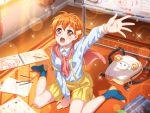 bang_dream! blush dress kitazawa_hagumi orange_eyes orange_hair short_hair smile wink