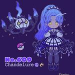 ball black_footwear black_gloves blue_hair chandelure character_name choker creature_and_personification dress eyes_visible_through_hair full_body gen_5_pokemon gloves gradient_hair grey_legwear highres long_hair looking_at_viewer mameeekueya multicolored_hair number personification poke_ball poke_ball_(generic) pokemon pokemon_(creature) pokemon_number ponytail puffy_sleeves purple_background shoes simple_background sparkle standing strap striped striped_dress thigh-highs twitter_username very_long_hair yellow_eyes zipper