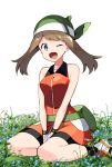1girl aliasing bandana bangs bare_shoulders between_legs bike_shorts black_legwear blue_eyes blue_flower blush breasts brown_hair collarbone dress eyebrows_visible_through_hair fanny_pack flower gloves grass green_headwear hand_between_legs hands_together happy haruka_(pokemon) highres light_blush medium_breasts one_eye_closed open_mouth orange_dress orange_footwear pokemon pokemon_(game) pokemon_emerald pokemon_rse shiny shiny_hair shiny_skin shoes simple_background sitting smile socks solo v_arms white_background white_gloves yuihiko