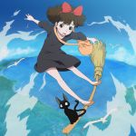 1girl animal bag bird black_cat black_dress blush bow broom broom_riding brown_eyes brown_hair cat clouds commentary_request dress flying hair_bow hairband jiji_(majo_no_takkyuubin) kiki majo_no_takkyuubin no_socks ocean open_mouth ribbon seagull short_hair sky studio_ghibli witch yazwo