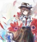 1girl black_headwear black_skirt blush bow brown_eyes brown_hair commentary_request daisy flower grin hair_bow hat hat_bow highres holding holding_flower necktie petals red_flower red_neckwear shirt short_hair short_sleeves skirt smile solo touhou usami_renko uwazumi white_bow white_shirt