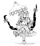 1girl boots bow crossed_legs dress fan frills gap hair_bow hat highres holding holding_fan holding_umbrella long_hair mob_cap monochrome ribbon short_sleeves sitting socks touhou umbrella white_dress white_hair yakumo_yukari