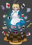 1girl absurdres alice_(wonderland) alice_in_wonderland apron arm_behind_back bar_censor black_background black_footwear black_legwear black_ribbon blonde_hair blue_dress blue_eyes book bow card censored character_name checkered checkered_floor club_(shape) collared_dress commentary cup diamond_(shape) dress english_commentary english_text finger_to_mouth hair_ribbon heart highres key large_bow looking_at_viewer manami_tomo mary_janes medium_dress playing_card pocket_watch puffy_short_sleeves puffy_sleeves ribbon saucer shoes short_hair short_sleeves shushing spade_(shape) standing striped striped_legwear teacup teapot thigh-highs watch white_apron white_rabbit wind zettai_ryouiki