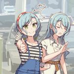 >:) /\/\/\ 2girls :o aqua_hair ayasaka bang_dream! belt bow clenched_hand closed_eyes commentary_request dress green_eyes hair_bow hikawa_hina hikawa_sayo long_hair multiple_girls notice_lines overalls short_hair siblings side_braids sisters striped thumbs_up twins yellow_bow
