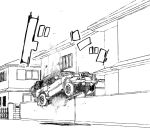 1girl abduction commentary_request flying ground ground_vehicle lineart long_hair magical_girl monochrome motor_vehicle original road sakifox