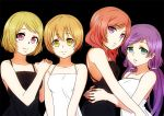 4girls aqua_eyes arm_around_waist bangs bare_shoulders black_background breasts brown_hair eyebrows_visible_through_hair hands_on_another's_shoulders hoshizora_rin koizumi_hanayo long_hair looking_at_viewer love_live! love_live!_school_idol_project low_twintails medium_breasts medium_hair multiple_girls nishikino_maki purple_hair redhead short_hair simple_background sleeveless smile taka877 toujou_nozomi twintails violet_eyes yellow_eyes