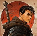 1boy armor berserk berserker_armor black_hair blood cloak cuts dave_rapoza dragonslayer_(sword) guts huge_weapon injury male_focus pauldrons red_sky short_hair sky solo sword sword_behind_back thick_eyebrows weapon