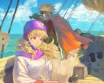 1girl 2boys arm_support blonde_hair cape clouds crate dragon_quest dragon_quest_ii gloves goggles goggles_on_headwear horizon jar leaning_back long_hair looking_afar map multiple_boys ocean open_mouth prince_of_lorasia prince_of_samantoria princess_of_moonbrook ship sky sleeping telescope violet_eyes water watercraft wind yuza