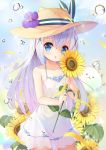 1girl absurdres blue_eyes blue_hair brown_headwear bubble dress flower gochuumon_wa_usagi_desu_ka? hair_ornament hairclip hat hat_flower highres holding kafuu_chino long_hair open_mouth outdoors see-through_silhouette short_dress sun_hat sundress sunflower taku_michi tippy_(gochiusa) white_dress