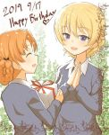 2girls bangs blonde_hair blue_eyes braid closed_eyes darjeeling dated gift girls_und_panzer hair_ribbon happy_birthday heart long_sleeves multiple_girls necktie open_mouth orange_hair orange_pekoe rebirth42000 ribbon smile sweater tied_hair