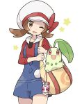 1girl ;d bag blush bow breasts brown_eyes brown_hair chikorita cowboy_shot ddak5843 gen_2_pokemon hat hat_bow highres kotone_(pokemon) long_sleeves looking_at_viewer one_eye_closed open_mouth overall_shorts poke_ball_symbol pokemon pokemon_(creature) pokemon_(game) pokemon_hgss red_bow red_skirt shoulder_bag simple_background skirt small_breasts smile star white_background white_headwear