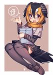 1girl :d bangs bird_tail bird_wings black_hair blonde_hair blush brown_footwear campo_flicker_(kemono_friends) eyebrows_visible_through_hair full_body glasses grey_hair hair_between_eyes hatagaya head_wings kemono_friends loafers long_sleeves looking_at_viewer multicolored_hair necktie open_mouth outline package pleated_skirt print_legwear print_skirt print_sleeves red_eyes scarf shoes short_hair short_over_long_sleeves short_sleeves skirt smile solo speech_bubble spoken_object thigh-highs white_outline wings yellow_scarf zettai_ryouiki