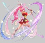 1girl barefoot belt bow bracelet fire_emblem fire_emblem:_new_mystery_of_the_emblem fire_emblem_heroes full_body grey_background jewelry long_hair mayo_(becky2006) official_art open_mouth phina_(fire_emblem) pink_eyes pink_hair ponytail solo sparkle sword teeth weapon
