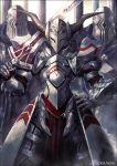 1girl armor armored_dress artist_name chest_plate commentary_request fate/grand_order fate_(series) gauntlets helmet holding holding_sword holding_weapon horned_helmet horns kei-suwabe looking_at_viewer mordred_(fate)_(all) shoulder_plates solo sword weapon