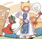 3girls animal_ears blonde_hair bow bowl brown_eyes brown_hair cat_ears cat_tail chen cleaning commentary dress dust_cloud duster fox_ears fox_tail frills gap green_headwear highres long_sleeves multiple_girls multiple_tails nikori open_mouth red_bow red_skirt red_vest rice rice_bowl shaking_head shirt short_hair skirt speech_bubble sweatdrop tabard tail touhou two_tails vacuum_cleaner vest white_dress white_legwear white_shirt yakumo_ran yakumo_yukari