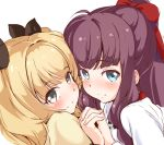 2girls black_eyes black_ribbon blonde_hair blue_eyes blush bow brown_hair closed_mouth dutch_angle eyebrows_visible_through_hair from_side hair_bow hair_ribbon holding_hands iijima_yun looking_at_viewer lsizessize multiple_girls new_game! ponytail portrait red_bow ribbon shirt smile takimoto_hifumi white_background white_shirt