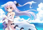 1girl :o agung_syaeful_anwar azur_lane bangs black_bow black_ribbon blue_sky blush bow clouds commentary day detached_sleeves dress eyebrows_visible_through_hair floating_hair hair_between_eyes hair_bun hair_ribbon horizon long_hair long_sleeves looking_at_viewer object_hug ocean one_side_up outdoors panties parted_lips purple_hair ribbon see-through side_bun sky sleeveless sleeveless_dress sleeves_past_wrists solo strap_slip stuffed_alicorn stuffed_animal stuffed_toy underwear unicorn_(azur_lane) very_long_hair violet_eyes water white_dress white_panties white_sleeves
