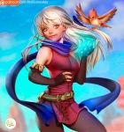 1girl artist_name bangle bare_shoulders belt bird black_gloves black_legwear blue_scarf bracelet cowboy_shot didi_esmeralda dress elbow_pads fingerless_gloves fire_emblem fire_emblem:_radiant_dawn gloves hair_ribbon half_updo jewelry long_hair micaiah outdoors patreon_username ribbon scarf side_slit silver_hair sleeveless sleeveless_dress smile solo yellow_eyes yune