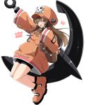 1girl :d aikawa_ryou anchor bangs blush brown_eyes brown_hair commentary_request eyebrows_visible_through_hair fingerless_gloves gloves guilty_gear hair_between_eyes hat highres holding_anchor long_hair may_(guilty_gear) open_mouth orange_footwear orange_headwear pirate pirate_hat round_teeth shoes simple_background skull_and_crossbones sleeves_past_wrists smile solo teeth upper_teeth white_background wide_sleeves